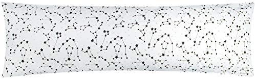 Heubergshop Baumwoll Renforcé Seitenschläferkissen Bezug 40x145cm - Sternenhimmel, Sternzeichen in Weiß und Schwarz - 100% Baumwolle Stillkissenbezug (KY-530-1)