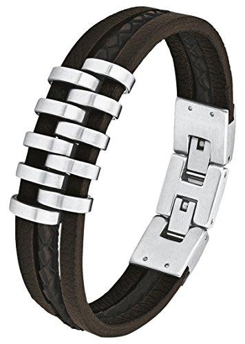 s.Oliver Herren-Armband mehrreihig Edelstahl Leder 22 cm - 566698