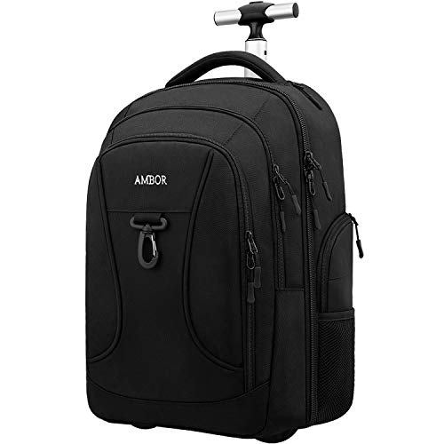 Rolling Backpack, AMBOR Waterproof Wheeled Backpack, Carry-on Trolley Luggage Suitcase Compact Business Backpack with Wheels, Student Rolling Laptop Bag Trolley Carry Luggage Fits 15.6 Inch - Black