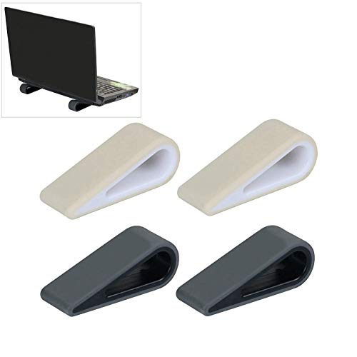 Silicone Laptop Stand, Pack of 4 Portable Silicone Laptop Stand, Anti-Slip Silicone Laptop Stands, Wedge, Ventilation and Heat Dissipation, for Laptop, Tablet, Keyboard (Black + White)