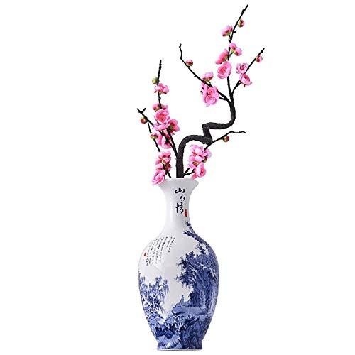 Cxp Boetieks Stijl Chinese Wandmontage Thuis Woonkamer Decoratie Ambachten Blauw en Wit Porselein Keramische Ronde Vaas Elegant