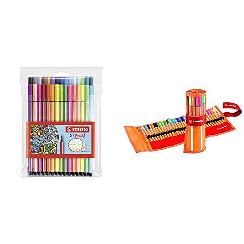 Premium-Filzstift - STABILO Pen 68-30er Pack - mit verschiedenen Farben inklusive 6 Neonfarben & Fineliner - STABILO point 88 - 30er Rollerset - mit 30 verschiedenen Farben inklusive 5 Neonfarben