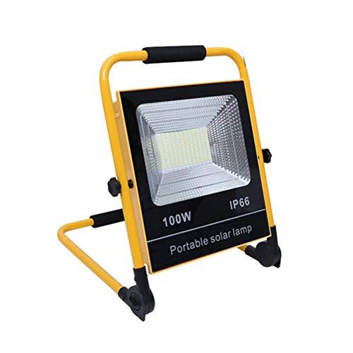Luces LED portátiles Proyectores de trabajo recargables Impermeables IP65 con panel solar, 2200 lm / 2700 lm, 3 modos de luz, Encendido / apagado automático Dusk to Dawn, Reflector LED para acampar al