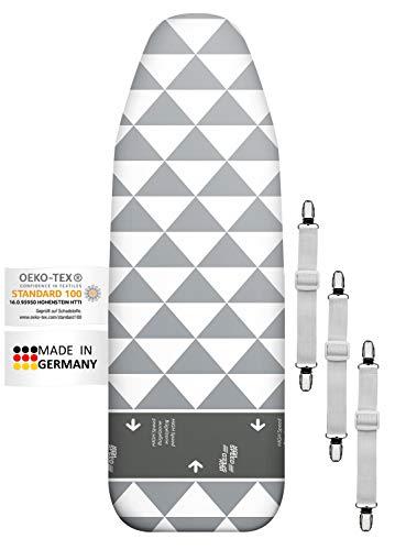 Arteneur®- Prime Housse Table à Repasser 120x40 pour Centrale Vapeur - Fabriqué en Allemagne avec Zone High-Speed, Thermo Reflect, Épaisse Mousse et Molleton et 3 Réglable Clips de Fixation