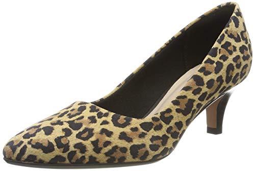 Clarks Linvale Jerica, Zapatos de tacón con Punta Cerrada para Mujer, Estampado de Leopardo Multicolor, 38 EU