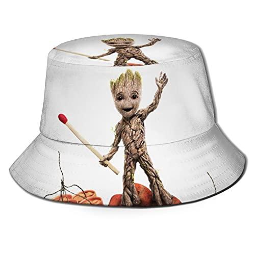 MIAOXXUAN Bebé Groot Bucket sombrero de pescador sombreros unisex impreso doble cara cubo sombreros verano moda protector solar visera plegable al aire libre deporte Cap niños niño negro