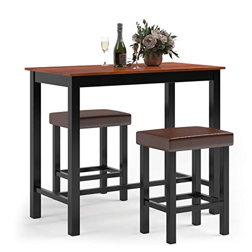 Giantex 3-Piece Pub Dining Table Set, 36 Inch Wood Counter Height Table Set with 2 Upholstered Stools, Rectangular Breakfast Table Set, Bistro Table Set, Kitchen Table Set