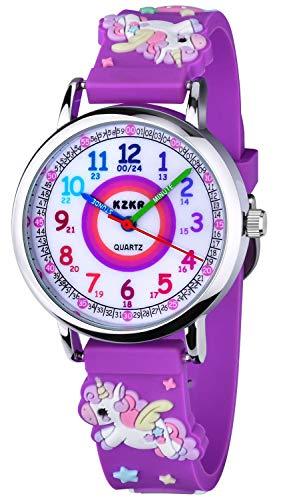KZKR 3D Kinderuhr Mädchenuhr Sport Digital Armbanduhr Silikon Quarz Analog Lernuhr Geschenk Uhr