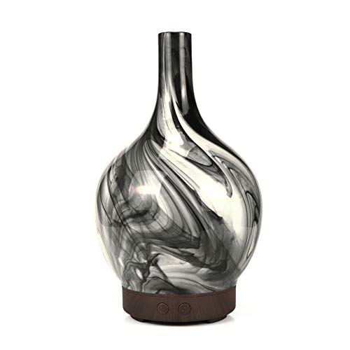 LoveJia Mini Cool Mist luchtbevochtiger, draagbare vaas-type oliegeuren aromatherapie etherische olie diffuser met 7 kleurrijke ledlampen 2 mistinstellingen stille werking automatische uitschakeling