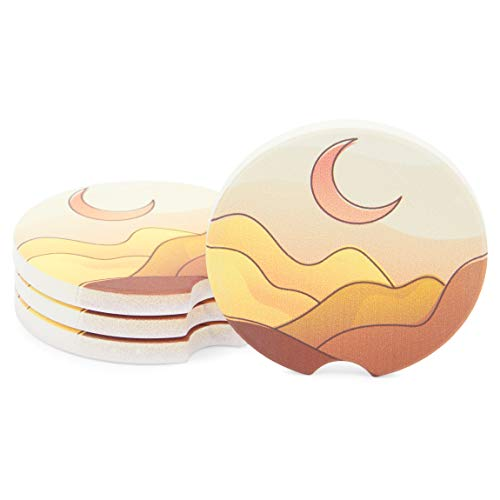 Ceramic Cup Holder Coasters for Boho Car Accessories (2.5 Inches, 4 Pack)
