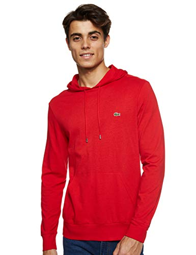 Lacoste Mens Long Sleeve Hooded Jersey Cotton T-Shirt Hoodie T-Shirt, Red, L