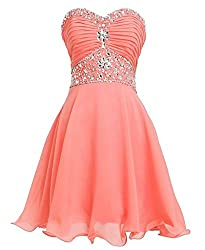 Coral Short Sweetheart Rhinestones Strapless Chiffon Dress