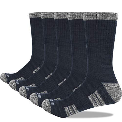 YUEDGE 5 Pairs Men's Athletic Sports Socks Cushion Crew Walking Socks...