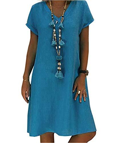 Yutila Damen Leinenkleid für den Sommer V-Ausschnitt Casual Kleid im Boho Look, Blau, XXL(EU 44)
