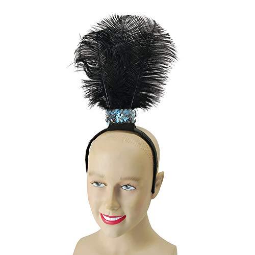 Bristol Novelty- Serre-tête Burlesque avec Plumes, Noir, BA176, Taille Unique