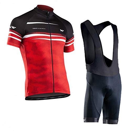 QWA Ciclismo Jersey y Pantalones Cortos Conjunto Hombres, Camiseta de Ciclismo de MontañA, Pantalón Corto con Acolchado 20D, para Deportes Aire Libre Ciclo Bicicleta (Color : Red 1, Size : E(XL))