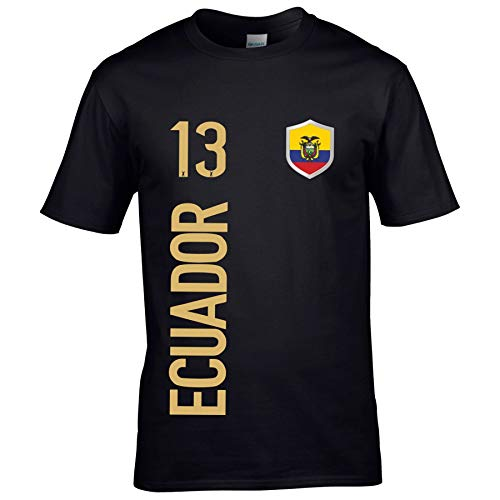 FanShirts4u Herren Fan-Shirt Jersey Trikot - Ecuador - T-Shirt inkl. Druck Wunschname & Nummer WM (M, Ecuador/schwarz)