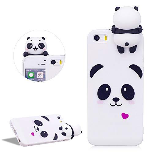 DasKAn Lindo Panda Mate Funda de Silicona para iPhone 5 / 5S / SE, Patrón de Animales de Dibujos Animados 3D Soft Piel de Gel Goma Protectora de TPU a Prueba de Golpes,Blanco # 1