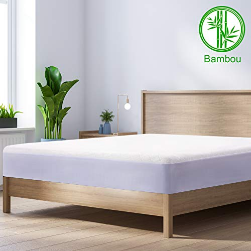 BedStory Bamboo Waterproof Mattress Protector King,Hypoallergenic Cotton Mattress Cover, Against Bed Bugs, Dust Mite, None Odor Bed Mattress protector 160x200cm