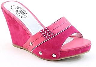 31a9b24ee74b Brieten New Women s Studded Leopard Print High Wedge Platform Slide Sandals