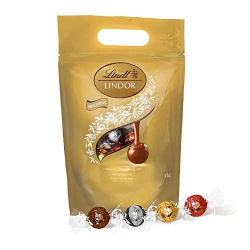 Lindt LINDOR Beutel Mischung, einzeln verpackten Schokoladen-Kugeln (Vollmilch, Weiß, Dark und Haselnuss) - ca. 81 Kugeln, 1kg