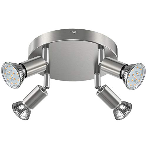 Creyer LED Deckenstrahler 4 Flammig, Schwenkbar LED Deckenleuchte, ø180mm (inkl. 4 x 4W GU10 LED Leuchtmittel, 400LM, Warmweiß) Modern Wohnzimmer LED Deckenspot, Rund LED Deckenlampe - Matte Nickel