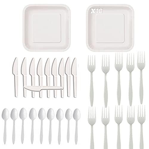 Honest green Pack Biodegradable Libre de BPA | 10 Platos + 10 Tenedores +10 Cucharas + 10 Cuchillos (Pack de 10 Blanco)