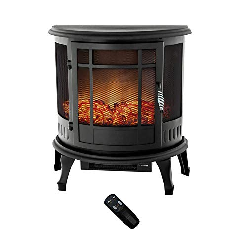 FLAME&SHADE Electric Wood Stove Fireplace Heater - Freestanding - Height 25in