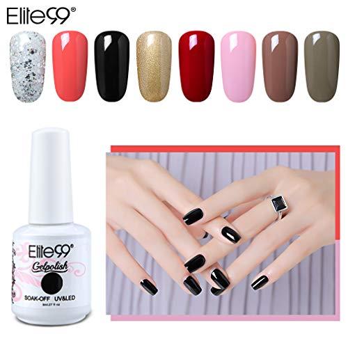 Elite99 Esmaltes Semipermanentes de Uñas en Gel UV LED, 8 Colores Kit de Esmaltes de Uñas de Color 023