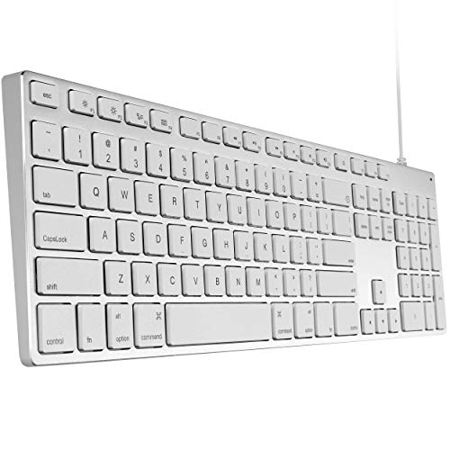 USB Wired Keyboard for iMac, Mac Keyboards with Numeric Keypad Aluminum Full Size Compatible with Apple iMac maca Magic MacBook Pro/Air Laptop and Computer Windows PC Teclado