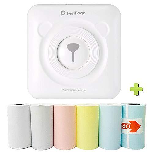 Souarts Tragbarer Notizen Drucker Thermo Bluetooth Etikettendrucker,mit 6 Druckpapier Drahtloser Wärmebild Fotodrucker Mini Taschendrucker Kompatibel mit Smartphones(Weiß)
