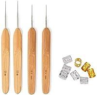 SEALEN 4本セット 髪編み用 ドレッドロック かぎ針編みフック ソフトタッチ鋼 0.5 mm 0.75 mm ドレッドのかぎ針編みフック ドレッドロック ニードル ツール 6個