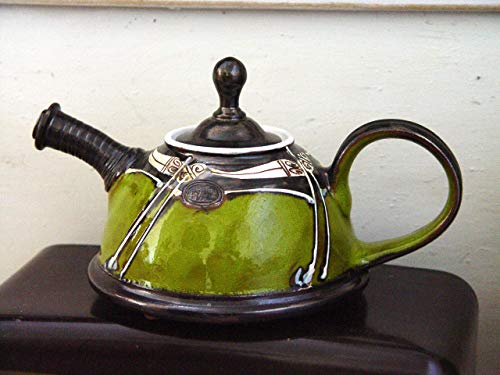 Wheel Thrown Green Pottery Teapot - Impressive Gift - Ceramic Tea Pot - Unique Artistic Pottery - Gift Idea Teapot - Handmade Family Gift