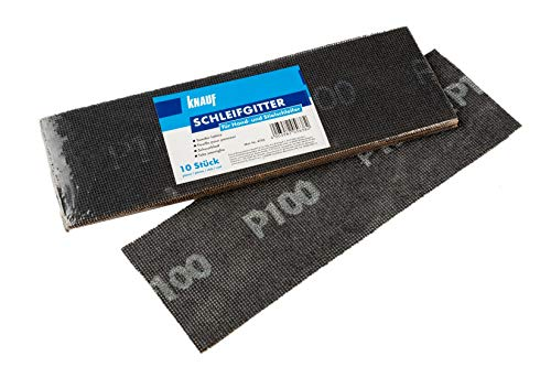 Knauf Schleifgitter für Handschleifer – Trockenbau-Schleifgitter zum Glätten und Schleifen von verspachtelten Gips-Platten und Trockenbau-Wänden, 10-teiliges Set