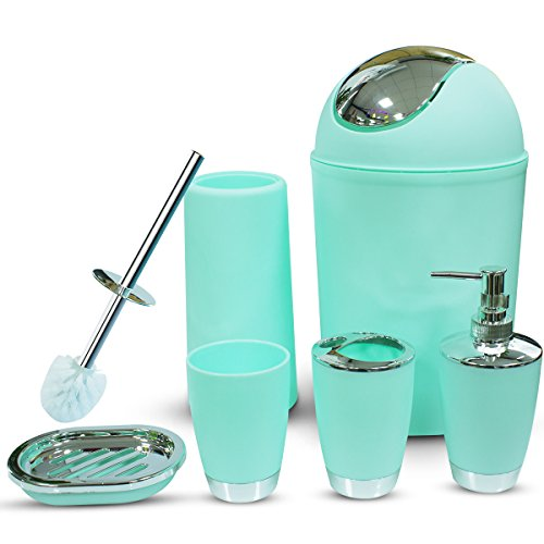 Bathroom Accessories Set, 6 Pieces Plastic Gift Set Bathroom Accessory Luxury Bathroom Set Includes Toothbrush Holder,Toothbrush Cup,Soap Dispenser,Soap Dish,Toilet Brush Holder,Trash Can(Mint Green)
