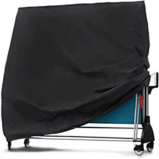iiSPORT Waterproof Table Tennis Table Cover, 420D Polyester Oxford Ping Pong Table Cover Outdoor, Weatherproof, Black, 64