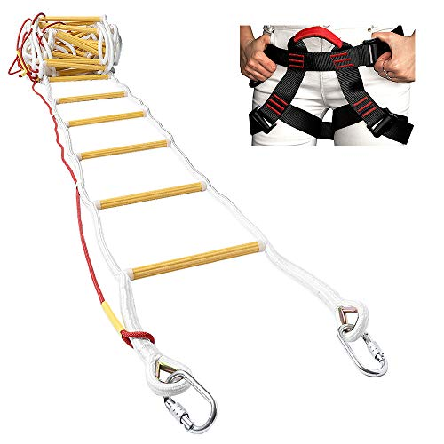 ISOP Fire Evacuation Rope Ladder 32ft (10m) with Safety Harness & Spring Hooks - Rescue Ladders for 4-5 Story Homes - Fireproof & Weather Resistant