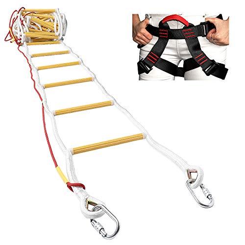 ISOP Escalera de Emergencia para Cuerda de Escape de Incendios para Casas de 3-4 Pisos - Escaleras de Seguridad de 10 m / 32 pi con Mosquetones y Arnés de Seguridad - Patentado
