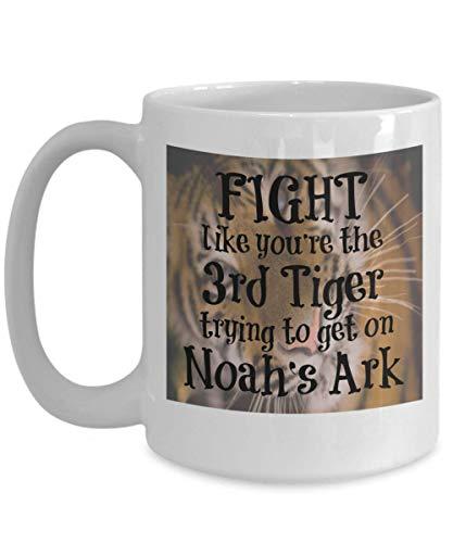 Taza inspiradora Arca de Lucha como el tercer tigre Noé 11oz