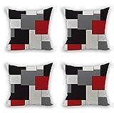 Nunubee Lot de 4 Housse De Coussin Réseau Colorblock Bohême Géométrique Canapé décoratif scandinave Chambre Taie d'oreiller Sofa, Style 1 45x45CM
