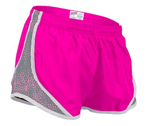 Soffe Women's Printed Team Shorty Shorts, Neon Pink/Gunmetal Dot, Small