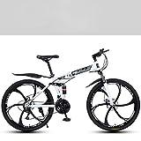 26 Inch Lightweight Folding Bike,Adult Mountain Bikes,Dual Disc Brakes Mountain Bicycle,Dual Suspension MTB Bikes,Mountain Trail Bike Urban Track Bike Non-Slip Bike (White)