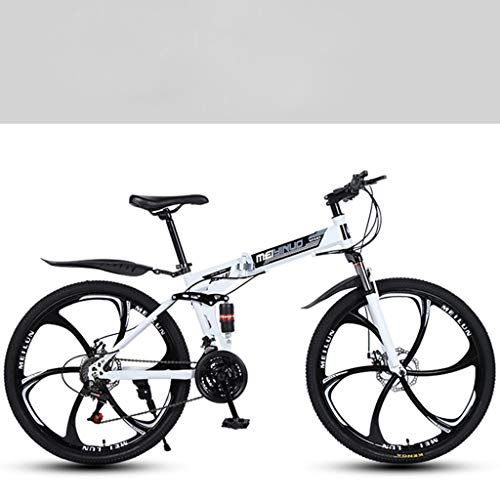 26 Inch Lightweight Folding Bike,Adult Mountain Bikes,Dual Disc Brakes Mountain Bicycle,Dual Suspension MTB Bikes,Mountain Trail Bike Urban Track Bike Non-Slip Bike (White)