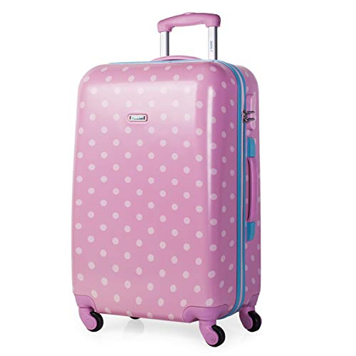 SKPAT - Trolley Suitcase, Medium Size 60 cm, PC Printed polycasbonate. Rigid, Resistant and Light. Telescopic Handle. Retractable Handle. 4 Wheels. Medium Size 66460, Color Pink