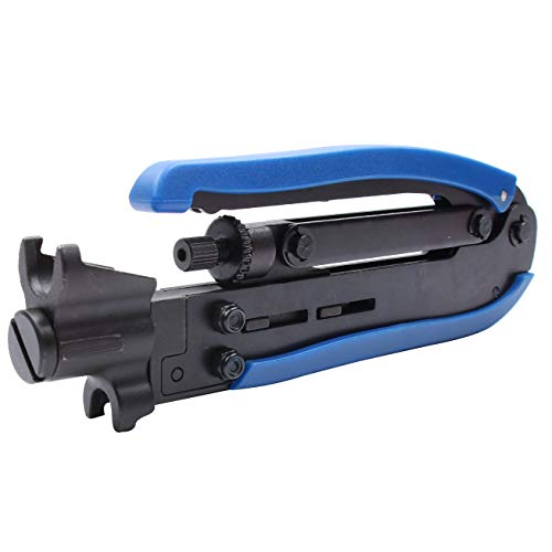 F-Connector Tool,Knoweasy RG59 RG6 RG11 Coaxial Tool Adjustable Compression Tool,Cable Connector Tool Hardened Steel Construction with Black Oxide Finished