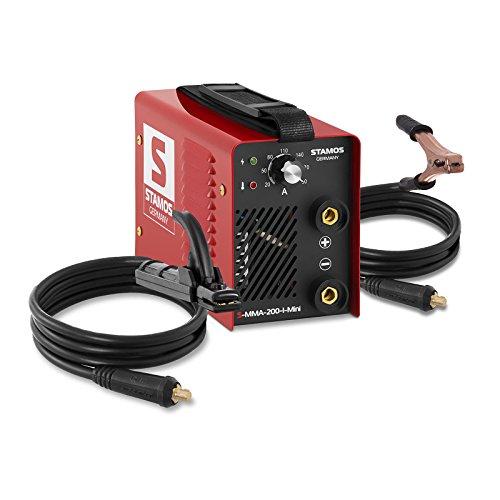 Stamos Germany S-MMA-200-I-Mini Schweißgerät Inverter Schweißgerät Elektroden Schweißgerät MMA E-Hand (200 A, 230 V, Hot Start, IGBT, inkl. Zubehör)