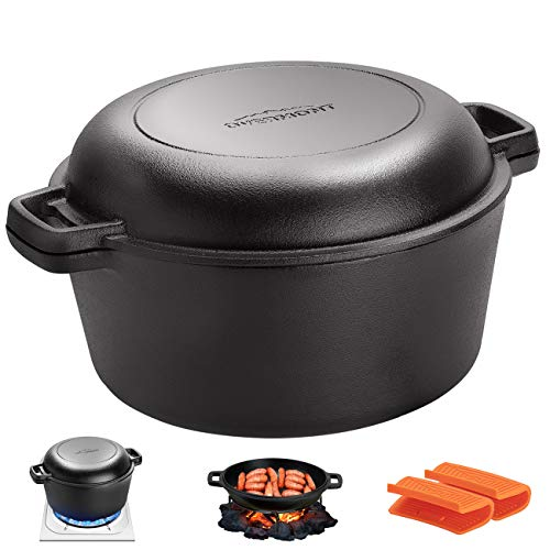 Overmont Dutch Oven 5 QT Cast Iron Casserole Pot  16 QT Skillet Lid Pre Seasoned with Handle Covers amp Stand for Camping Home Cooking BBQ Baking