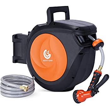 Retractable Garden Hose Reel Wall Mounted1/2  Inch x 66 Feet 9 Function Sprayer Gun with 5/8in Super Heavy Duty Any Length Lock Slow Return System Wall Mounted and 180°Swivel Bracket