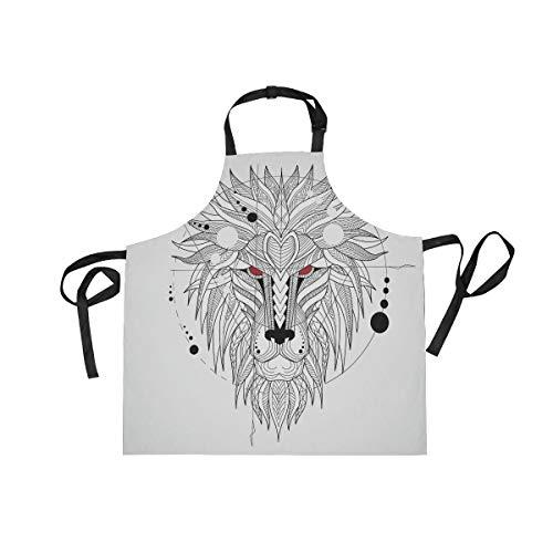 Loup Roi Blanc Tablier Peinture de Cuisine Tabliers de Bavette pour Serveuse La Cuisson Des Hommes Enfant en Avec Sangle Réglable pour Le Cou et 2 Poches