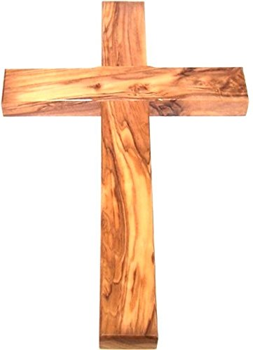 Holy Land Market Olive Wood Cross from Bethlehem with a Certificate and Lord Prayer Card - 10 Inches